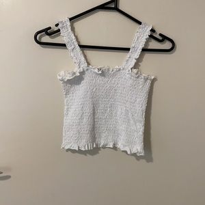 Ruched white frill tank